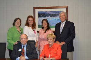 Back Row: Ms. Carol Dugger, High School Initiatives Director; Dr. Katie Thomas, CTAE Director; Ms. Natalie Smith, Career Transition Specialist; Dr. William Hunter, Superintendent Front Row: Mr. Pete McDonald, President; Mrs. Karen Nissen, Chairperson of Polk County College and Career Academy Steering Committee