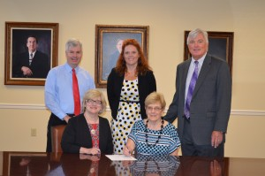 Back Row: Dr. Todd Jones, Vice President for Student Affairs; Dr. Katie Thomas, CTAE Director; Dr. William Hunter, Superintendent Front Row: Dr. Renva Watterson, Interim President; Mrs. Karen Nissen, Chairperson of Polk County College and Career Academy Steering Committee