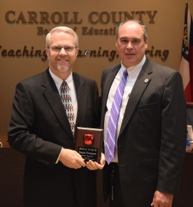 Pictured left to right: Mr. Dennis Thompson, CCBOE Technology Director, and Mr. Scott K. Cowart, Superintendent.