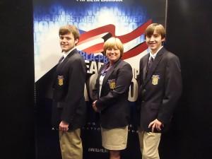 Pictured (l-r): Levi Holt, Laura Edwards (adviser), Wesley Otwell