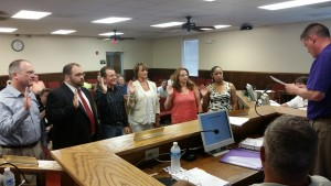 Six appointed board candidates took an oath of office as new members of the City of Villa Rica Main Street Advisory Board. Members sworn in included (l-r) Carl Peabody, Matt Momtahan, Chad Sadorf, Kim Collins, Kelly Bell, and Renata Gordon.