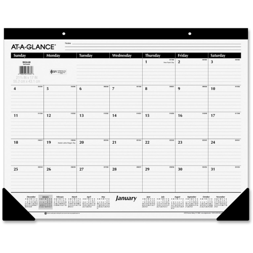 At-A-Glance Nonrefillable Classic 12-mth Desk Pad