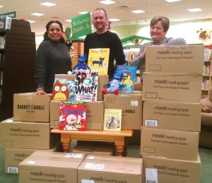The Ashley Park Barnes & Noble store delivered over 2,200 donated books to Coweta County School System pre-Kindergarten students this week. Above, Barnes & Noble Community Business Development Manager J.C. Barb, center, stands with Coweta Pre-Kindergarten Director Lisa Copeland, left, and Jefferson Parkways Pre-K teacher Pam Sandlin, right. The books were donated by customers in November and December during the store's annual Holiday Book Drive.