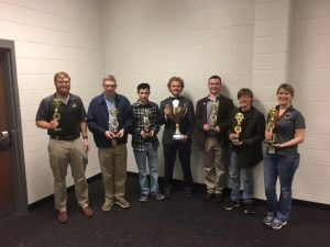 Pictured Left to Right: Coach Jonathan Horsely, Lucas Hardy, Asher Pate, Ethan Hembree, Brant Entrekin, Lane Jacobs, and Coach Stephanie Kuzy Jenkins.