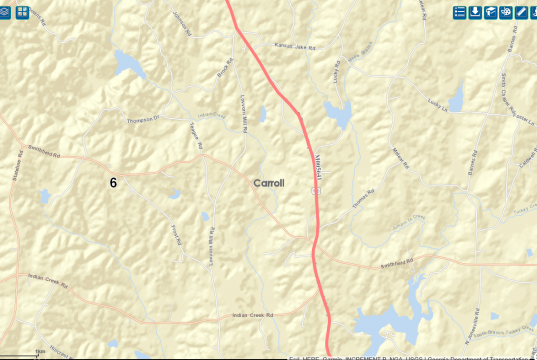 Map of construction area on Georgia highway 100